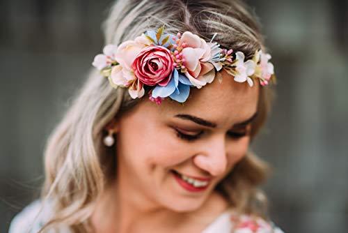 10-03 Blumenkranz Blüten Haarschmuck Braut Hochzeit wedding Hairdress Boho Vintage Diadem Brautkleid Perlen flowers in the hair