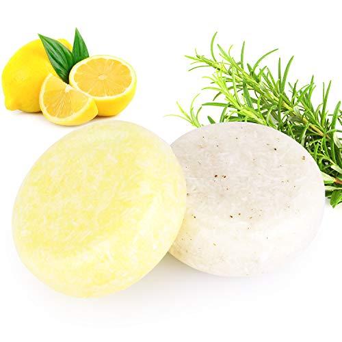 2 STÜCKE Hair Shampoo Bar, Phogary Haarseife (Rosmarin + Zitrone) Verschiedene Duftstoffe Essenz Shampoo für Trockenes und Geschädigtes Haar 3.88 oz