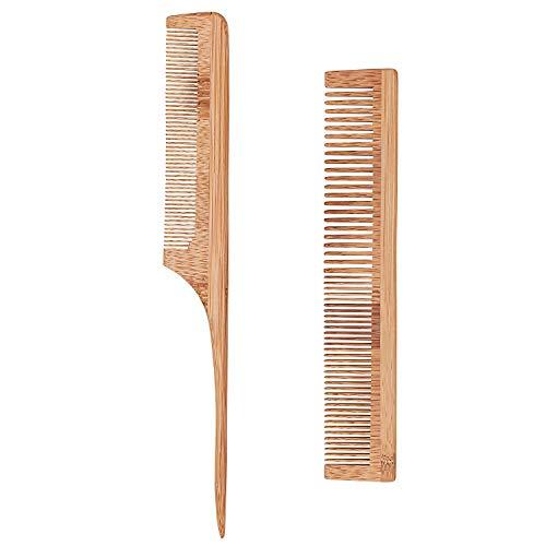 Bligo 2 Stück Bambuskamm Kit - Nadelstielkamm & Bambuskamm mit 2 Zahnungen grob und fein, Antistatischer Haar Kamm für Haare & Bart, für Männer und Frauen, Friseur, für kurze und lange Haare
