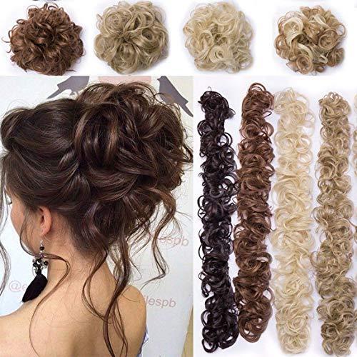 XXXL Haarverlängerung Haarteil Haargummi Hochsteckfrisuren VOLUMINÖS Gelockt unordentlicher Dutt Ponytail Hair Extension Lang Pferdeschwanz Hellbraun