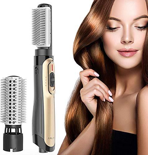 ANLAN Haartrockner Warmluftbürste, mit Ionen-Technologie, 2 Aufsätze,Multifunktions Hair Styler &Volumizer Heißluftbürste Negativer Ionenfön Föhnbürste Lockenwickler für alle Haartypen