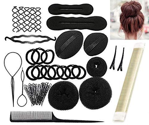 Frisurhilfe Set mit DEUTSCHER Anleitung - Einfache Frisuren für jeden zum Nachmachen! - Frisur Hilfe Set für lange Haare mit viel Zubehör (Blond)