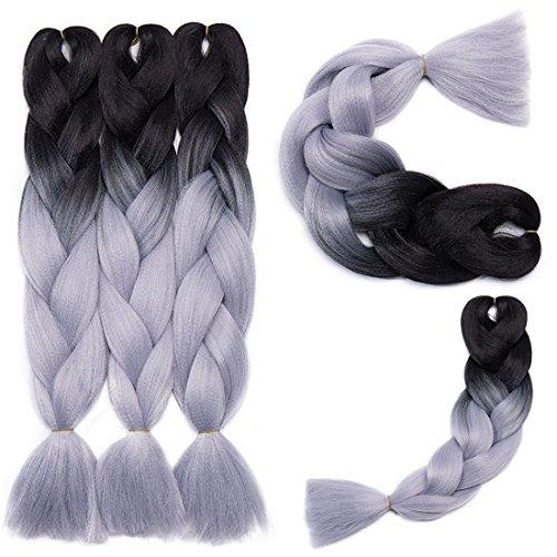 Haarverlängerung 60cm Crochet Braids Two Tone Ombre Braiding Haar Synthetik Braid 5 Pcs/500g Schwarz bis Silbergrau