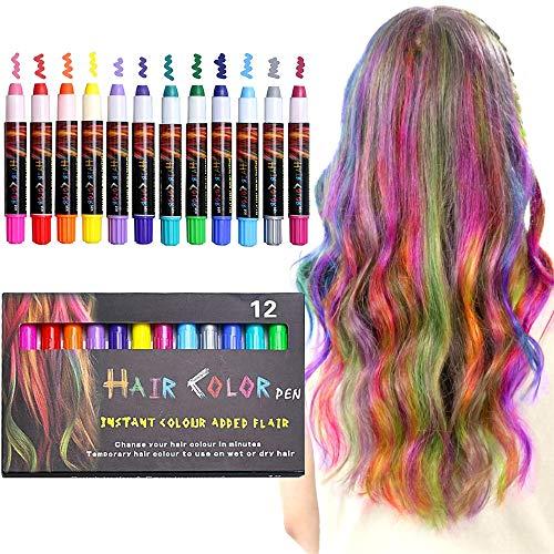 XIMU Haarkreide 12 Farbe Haarkreide für Mädchen,Haarkreide Kinder, Sicher und harmlos, geeignet für Kinder ab 3 Jahren, Geburtstagsfeier für Erwachsene, Feste, Partys, Rollenspiele