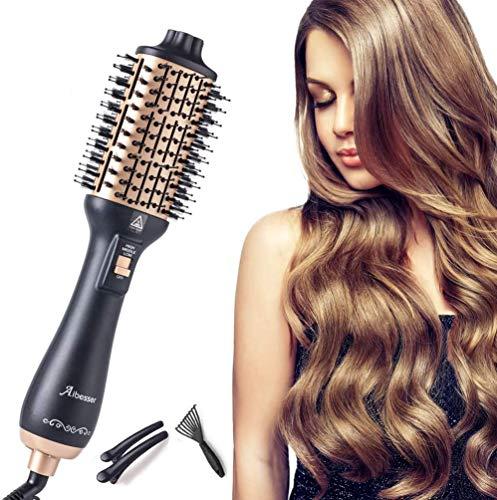 Haartrockner Warmluftbürste ionen Aibesser Heißluftbürste Föhnbürste mit Ionen Technologie Heißluftkamm, 2020 Neueste Hair Dryer and Volumizer Styler Stylingbürsten Haarglätter Bürste (Gold)