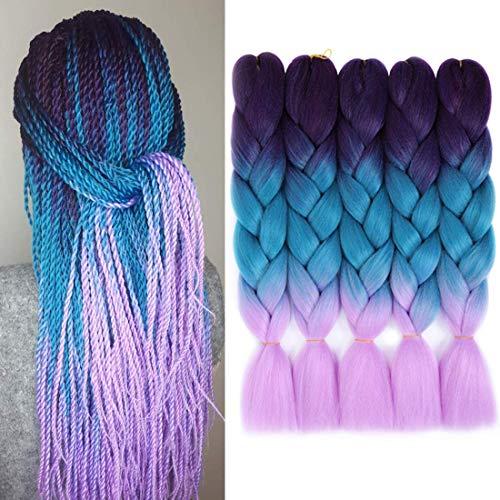 WIGENIUS Haarverlängerung, 61 cm (24 Zoll), , Violett Blau Violett
