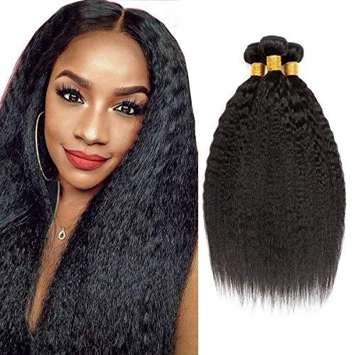 Yaki Straight Bundle Unprocessed Virgin Hair 3 Bundle Human Hair Extensions Real Remy Hair Kinky Straight Natural Color Human Hair Weave 16 18 20 Zoll Human Hair Bundle Weft