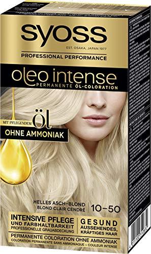 SYOSS Oleo Intense Permanente Öl-Coloration 10-50 Helles Aschblond, mit pflegendem Öl & ohne Ammoniak, 3er Pack (3 x 115 ml)