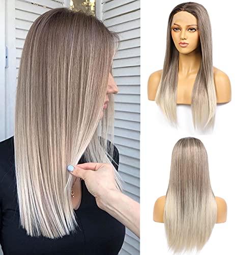 VEBONNY Braun Ombre Ashy Silver Perücken glattes Haar synthetische klebefreie Perücken für Frauen Ombre Blonde Perücke mit braunen Wurzeln 50,8 cm VEBONNY-080