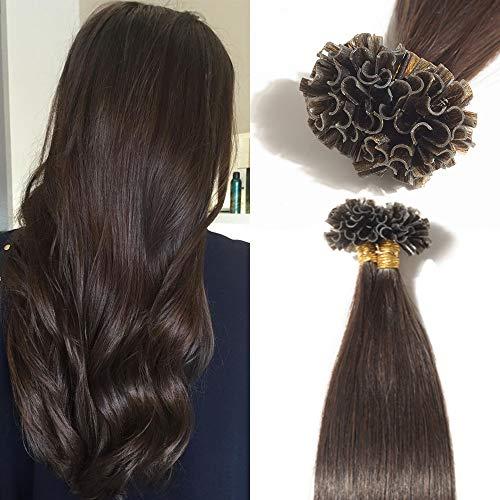 TESS Extensions Echthaar Bondings 1g 100% Remy Haarverlängerung 50 Strähnen Keratin Human Hair 50g/40cm(#2 Dunkelbraun)
