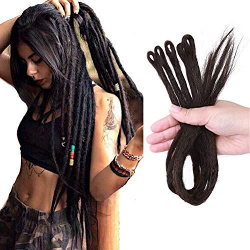 Handgemachte Dreadlocks Haarverlängerungen Single Ended Crochet Synthetik Haar Hip-Hop Reggae Haar Flechten Faux Locs Ombre Twist Crochet Braids Hair Extensions 50.8CM 5Stück Dunkelbraun