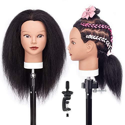 HLRM Afro Frisierkopf, 30cm, 100% Echthaar Friseur Trainingskopf Puppenkopf Kosmetologie Übungskopf (Tischklemme inklusive)