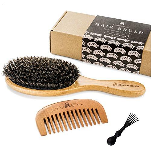 Haarbürste aus Wildschweinborsten für weich und natürliche Haarkonditionierung, mit Holzkamm Dieses Set ist fürglänzendes und seidiges Haar. Nicht zum Entwirren von Haaren und Nicht Antistatisch!