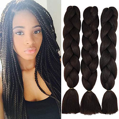 Cybelleza Jumbo Braiding Hair Braids Extensions Haarteile 3 Bündel 24 zoll Flechten Twist Crochet Box Synthetik Haar Kunsthaar Zöpfe, Mittel braun