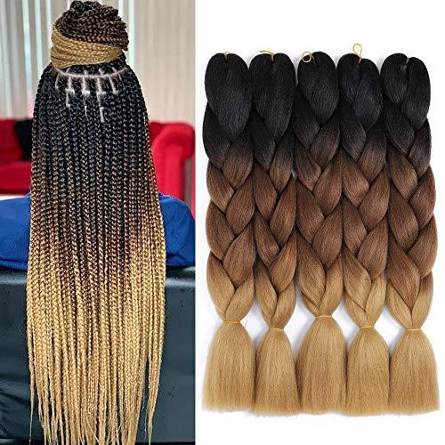 5Pcs/lot Jumbo Braiding Hair Ombre Braiding Hair 3 Tone Kanekalon Synthetic Braiding Hair for Hair Extensions Crochet Braids Hair 24 Inch(5Pcs, Black/Drak Brown/Light Brown)