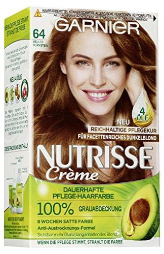 Garnier Nutrisse Creme 64 Heller Bernstein, Dauerhafte Haarfarbe mit Olivenöl und Avocadoöl, Haarfarbe braun (3 Stück)