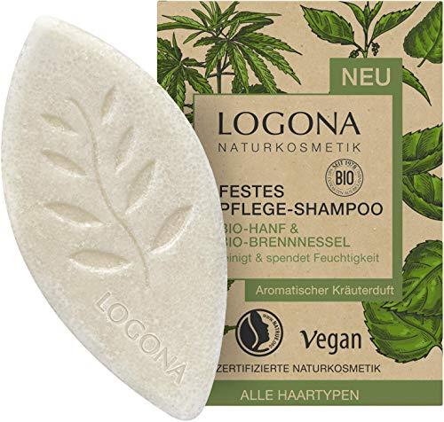 Festes Pflege Shampoo von LOGONA Naturkosmetik Bio-Hanf & Bio-Brennnessel, Feuchtigkeit Shampoo Bar für natürlich gesundes Haar, Wie Haarseife, Vegan, 60 g