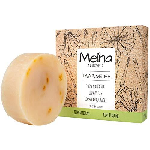 Meina - Bio Haarseife Naturkosmetik, Vegan Shampoo Bar mit Zitronengras & Ringelblume, festes Shampoo - Palmölfrei, Plastikfrei (1 x 80 g)
