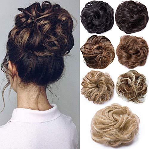 Hair Extensions Haarverlängerung Haarteil Haargummi Hochsteckfrisuren unordentlicher Dutt Gewellt Ombre Dunkelbraune Mix hell Auburn