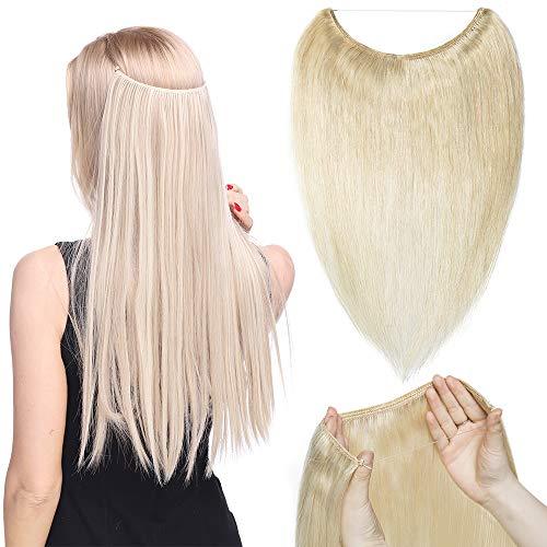 TESS Haarteile Echthaar Extensions guenstig 1 Tresse Remy Haarverlängerung mit Draht Human Hair Haarverdichtung Glatt 16'(40cm)-60g(#60 Weißblond)