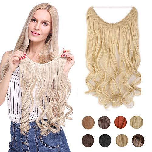 Haarteil Extensions Haarverlängerung 1 Tresse Haare Haarverdichtung Gewellt mit Unsichtbarer Draht Wavy 50 cm Gebleichtes Blond-3