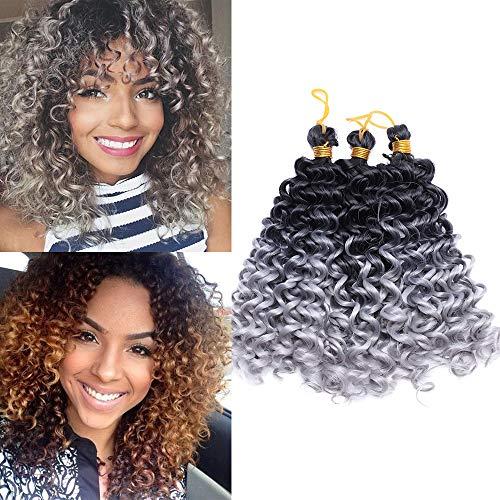 TESS Hair Extensions Crochet Weaving Braids Kunsthaar Water Wave 8'(20cm) Kurz Synthetik Haar 3 Bündel 90g Ombre Schwarz/Silbergrau