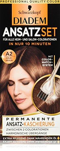 DIADEM ANSATZSET Ansatz-Kaschierung, Haarfarbe A2 Goldbraun Stufe 3, 3er Pack (3 x 22ml)