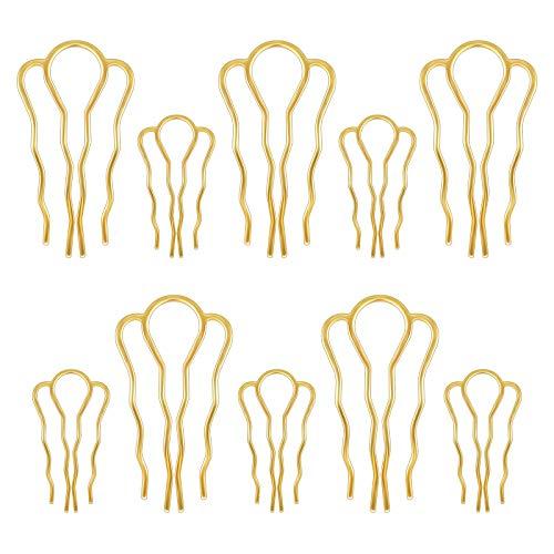 Haar Steckkamm 10 Stück Metall Haarkämme Steckkamm, 4 Zähne Haarschmuck Kamm Groß Haarnadel Gold Einsteckkamm Seitenkamm für Frauen Mädchen, 2 Größen