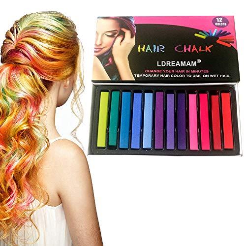 Haarkreide,Haare Kreide,Temporäre Haarfarbe,Non-Toxic 12 Farbe Natürliche Haar Colorationen,Mädchen, Perfektes Geschenk für Karneval, Weihnachten & Geburtstag
