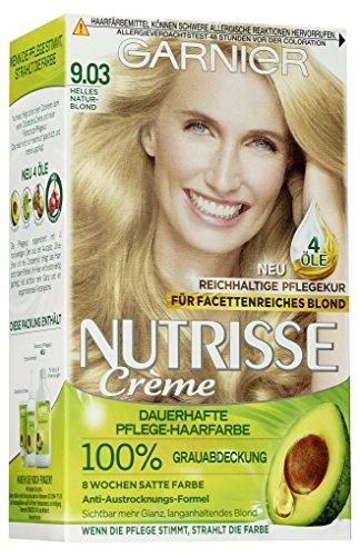 Garnier Intensiv Creme-Coloration, Grauabdeckung, Anti-Austrocknung für glänzendes Haar, mit 3 nährenden Ölen, Nutrisse, 9.03 helles Naturblond, 1er Pack