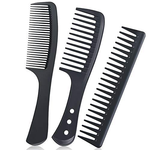 URAQT Breiter Zahnkamm Kit, 3PCS Profi Friseur Kamm, Barbier Haarstyling Salon Lockenkamm Hitzebeständiger Antistatischer Carbon Kamm, Hair Comb für Männer und Frauen