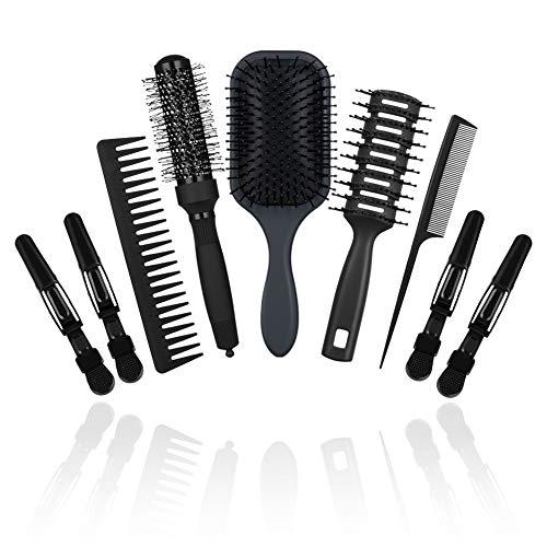 CISHANJIA - 9 Stück - Haarbürste - Professioneller Haarkamm - Haarpflege - Haarbürste für Langes,Dickes,Welliges - Trockenes Haar - Haarbürste Dame,Herren und Kinder - 5 Haarbürste + 4 Haarspangen