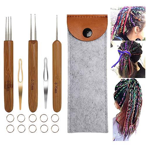 JOZEA 15pcs Dreadlocks Crochet Hook Set für Haare, 3pcs Locs Crochet Needle Größe 0,75 mm Bambusgriff für Braid Needle und 2pcs Interlocking Tools mit Fall
