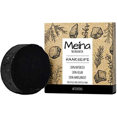 Meina Naturkosmetik - Schwarze bio Haarseife gegen Schuppen und fettiges Haar mit Aktivkohle, Vegan, Nachhaltig, Handgemacht, Plastikfrei, Ohne Palmöl, Wie ein festes Shampoo - 80g