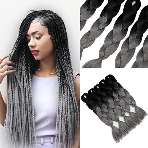 YMHPRIDE Geflochtene Haare Fashion 3-farbige Ombre geflochtene Haare 24 Zoll Geflochtene Haare 5 Stück (schwarz Dunkelgrau)