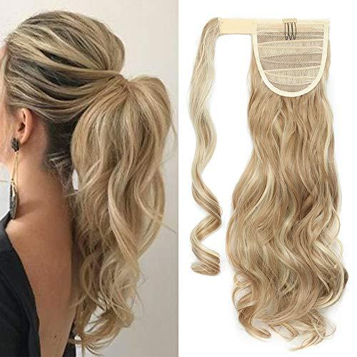 TESS Pferdeschwanz Extensions Ponytail Haarteil Clip in wie Echthaar Haarverlängerung günstig Zopf Extensions Haarteile Gewellt 17'(43cm)-90g Hellgoldblond/Blond
