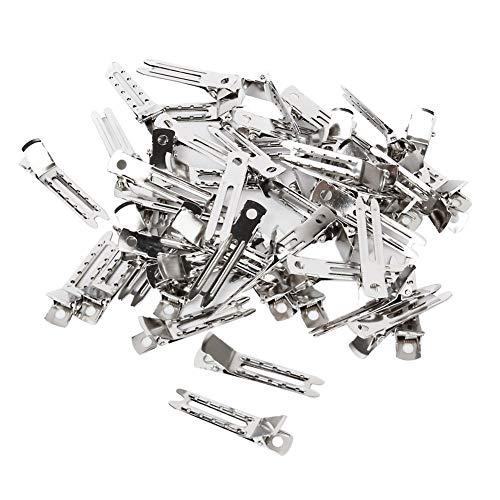 Haobase 60 Stück Doppel-Prong Metallkrokodilklemmen Haarnadel Silber
