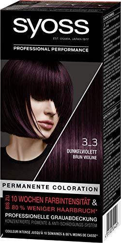 SYOSS Coloration, Haarfarbe Stufe 3 3_3 Dunkelviolett, bis zu 10 Wochen Farbintensität, 3er Pack (3 x 115 ml)