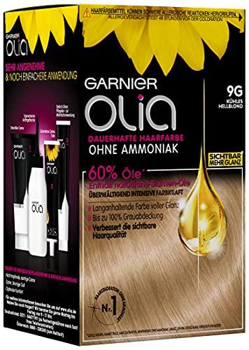 Garnier Haar Coloration, Färbung für Haare mit 60% Blumen-Ölen für intensive Farbkraft, ohne Ammoniak, Olia, Kühles Hellblond 9G, 3 x 1 Stück