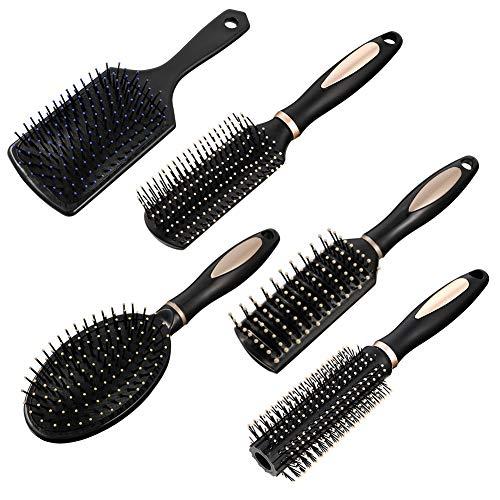 fanshiontide 5 Stück Haarbürsten Set,Antistatische Massage Ovaler Kamm Runde Haarbürste Entlüftungshaarbürste für Nasses Oder Trockenes Haar Entwirren,Massieren,Glanz hinzufügen