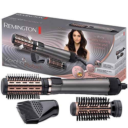 Remington Warmluftbürste rotierend (automatisch) Keratin Protect (inkl. 3 Aufsätze: 2 Rundbürsten + Haaransatz-Booster für mehr Volumen, Keratin-Keramikbeschichtung mit Mandelöl angereichert) AS8810