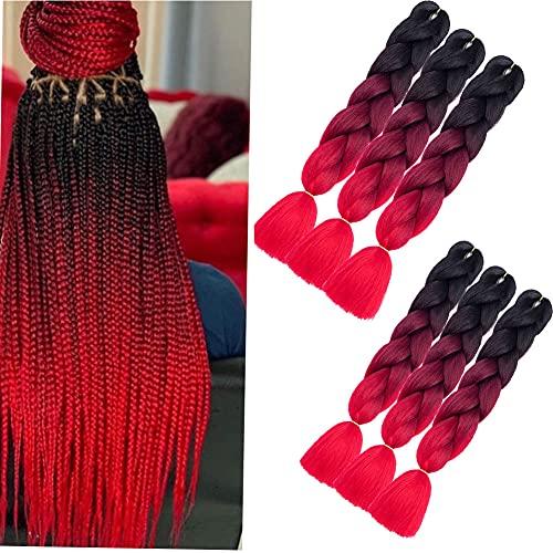 6 Packungen 24-Zoll-ombre-Flechthaar Jumbo Braid Haarverlängerungen Lange Jumbo-Zöpfe für Box Braids Crochet Hair Hochtemperatur-Kunstfaser Einfarbig (Schwarz-Wein-Rot-Rot)