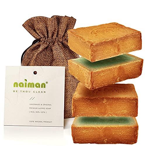 Naiman® Aleppo Seife [20%] - Premium Qualität - 400g VORGESCHNITTEN - Naturseife mit 80% Olivenöl & 20% Lorbeeröl - Natürliche Aleppo-Seife im Jutesäckchen