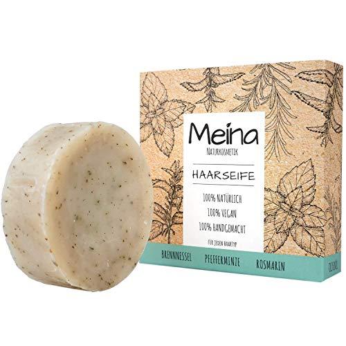 Meina Naturkosmetik - Bio Haarseife mit Brennnessel & Pfefferminze, Vegan, Nachhaltig, Handgemacht, Plastikfrei, Ohne Palmöl, Wie ein festes Shampoo - 80g