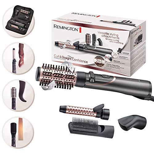 Remington Warmluftbürste rotierend (automatisch) Curl & Straight 3-in-1 Ionen Styler: Volumen, Locken & glatte Styles, 4 Aufsätze (Volumenstyler, Lockenstab, Stylingkonzentrator, Paddlebürste) AS8606