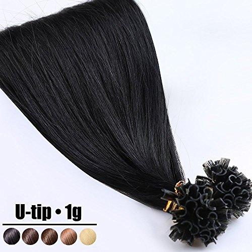 Extensions Echthaar Bondings 55cm Haarverlängerung 100% Remy Bondings Echthaar U Tip 1g X 50s - Natürliches Schwarz #1B
