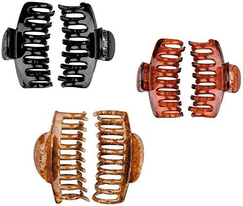 Haarklammer, Abteilklammern 6 cm breit, Greifspangen, Wellenreiter für langes Haar, 3er Mix-Set