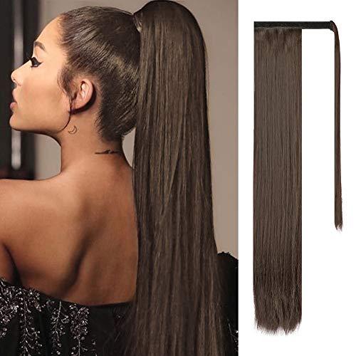 FESHFEN Pferdeschwanz Haarteil 71cm Glattes Kunsthaar Haarteil Zopf Haarverlängerung für Frauen 150g