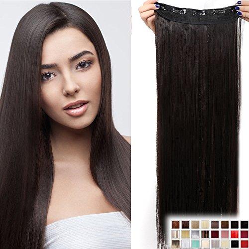 Clip in Extensions wie Echthaar Dunkelbraun Haarverlängerung Haarteil hitzebeständig Glatt 1 Tresse 5 Clips 23'(58cm)-140g