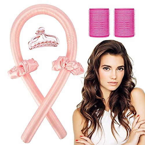 TSHAOUN Heatless Hair Curler No Heat Silk Curling Ribbon Set, Hitzefrei Tut nicht weh Haare Lockenstab für DIY-Styling für Frauen Mädchen für langes Haar, Kann im Schlaf verwendet warden (Rosa)